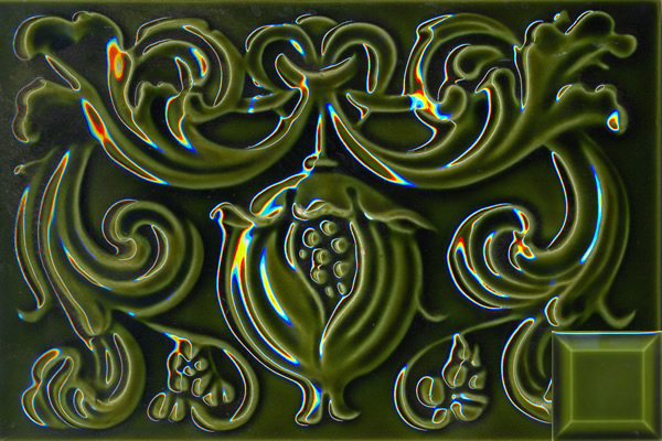 Classic pomegranate panel 228x152x10mm jade green